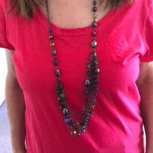 Colorful necklace with adjustable hooks